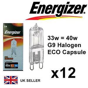 1x G9 33w=40w ENERGIZER ECO HALOGEN DIMMABLE ENERGY SAVING bulbs Capsule 240V UK