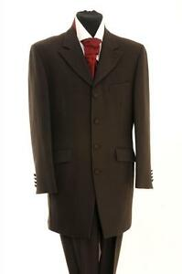 Mens-Brown-Long-Style-3-4-Length-Edwardian-Jacket-Teddy-Boy-Style-SALE-ONLY-20
