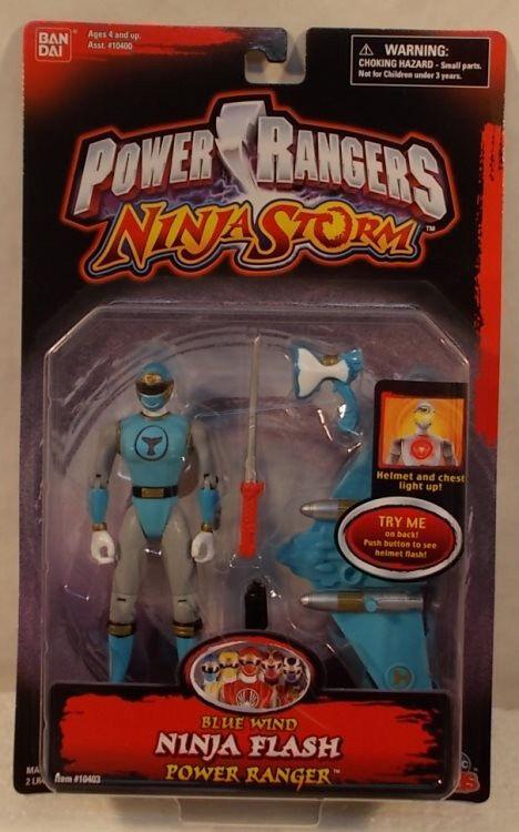 Power Rangers Ninja Storm bluee Wind Ninja Flash Light Up Ranger Bandai (MOC)