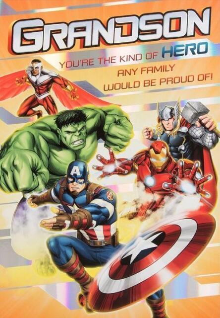 Avengers Grandson Birthday Card Hulk Thor Iron Man Captain America