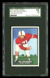 Rare 1951 Topps Magic #12 Jim Weatherall Football Rookie RC Card SGC 84 / 7 NM