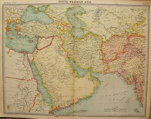 Image Is Loading 1920 LARGE MAP SOUTH WESTERN ASIA POLITICAL MAP