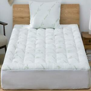 Pillow Top Mattress Pad Topper Cover Queen Size Bamboo