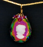 Vintage W German Cameo Pendant Necklace Iridescent Including Gold Chain Necklace