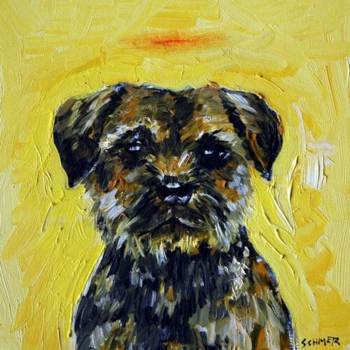 border terrier dog angel halo art tile coaster gift new animals impressionism