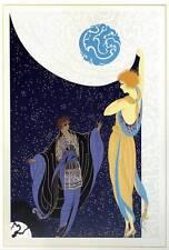 "ORIGINALE VINTAGE Erte Art Deco Print ""Nocturne"" FASHION BOOK Piastra"