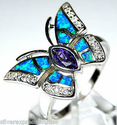 Amethyst & Blue Fire Opal Inlay 925 Sterling Silver Butterfly Ring size 7.75