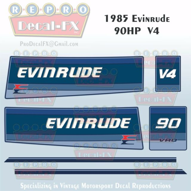 Discontinued Decal Reproductions in Stock Evinrude 1985 15hp Outboard Decal Kit
