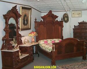 Details about Outstanding Two Piece Antique Victorian Walnut Bedroom Set  Bed and Dresser