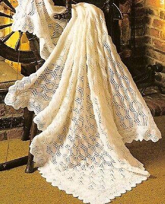 """Baby's Lace Shawl Knitting Pattern 48x48"""" 3ply  855"""