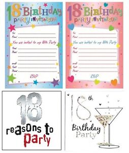 Image is loading AGE-18-18th-BIRTHDAY-Party-Invitations-amp-Envelopes-