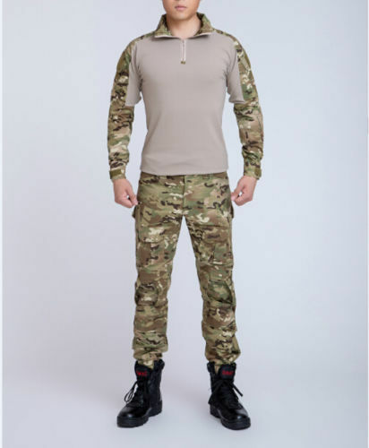 Military Camouflage Tactical Combat Frog Suit Shirt Pants Uniform Knee Elbow Pad
