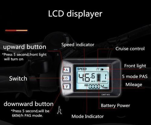 48V Speed Digital LCD Display Panel for Electric Bicycle Controller 350W Ebike