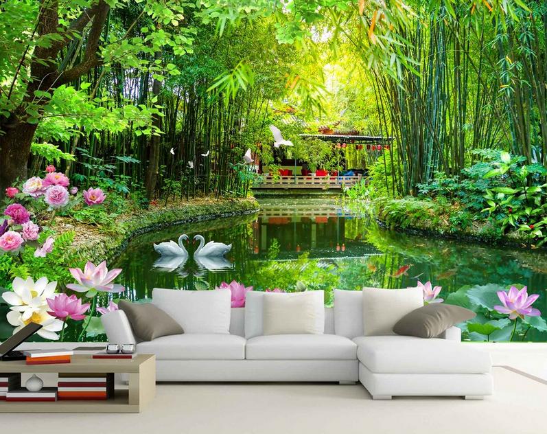 3D Lotus See Bambuswald Tapete Wandgemälde Tapete Tapeten Bild Familie DE Summer | Qualität  | Preiszugeständnisse  | Internationale Wahl