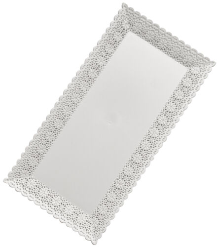Nuovo 26x13cm Rectangular White Plastic Disposable Cake//Serving Platters 9 PCS