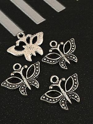 PJ249 15pcs Tibetan Silver Charm Hollow butterfly retro Accessories Wholesale