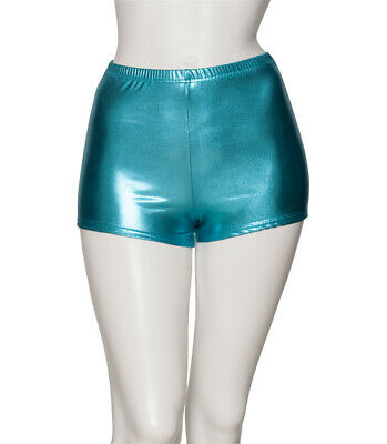 Turquoise Shiny Metallic Dance Hot Pants Shorts KHPM-5 By Katz Slight Seconds
