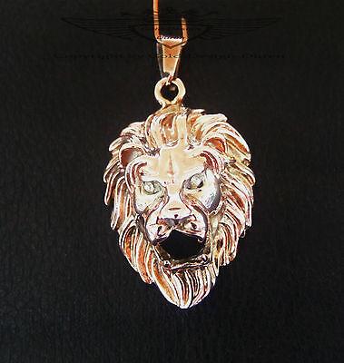 Anhänger, Löwenkopf, komplett Rose vergoldet, Löwe, glänzend, Biker, Gold, neu