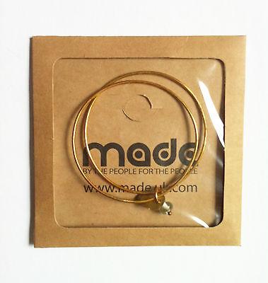 MADE fair trade brass bangles metal glass bead drop charms x 2 in packet Kenya