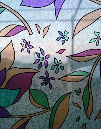 Patterned Decorative Colourful, Floral  Window Film - Privacy Glass Film TROPIC