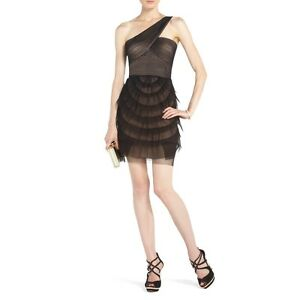 NEW-BCBG-MAX-AZRIA-BLACK-ELLA-ONE-SHOULDER-COCKTAIL-NST6T556-DRESS-SIZE-8