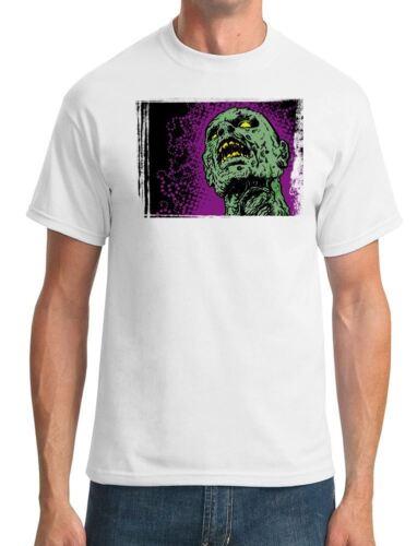 Mens T-Shirt Pop Art Zombie Head Cool