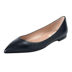 Valentino-Garavani-Women-039-s-Black-Leather-Ballet-Flats-Shoes-Sz-6-7-8-9-10