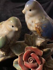 Vintage Birds On Branch Porcelain Ceramic Figurine