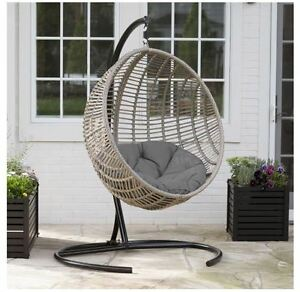 Egg Chair Indoor Outdoor Wicker Hanging Patio Swing Cushion Hammock ...