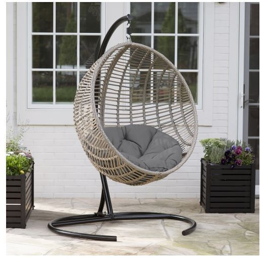 Resin Wicker Gray Cushion Hanging Egg Patio Swing Outdoor Home Furniture Deck Ebay