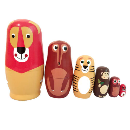 6pieces Wooden Russian Nesting Dolls Matryoshka Set Animals Hand Painted