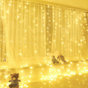 300-LED-Window-Curtain-String-Fairy-Light-USB-Wedding-Indoor-Outdoor-Christmas