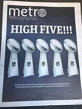 2/6/17 New England Patriots Super Bowl #51 Champions Boston Metro Newspaper