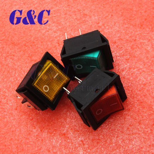 5Pcs New 4 Pin ON//OFF 2 Position DPST Rocker Switch 16A//250V KCD4-201 With light