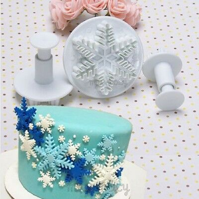 3x Snowflake Cake Tools Fondant Decorating Plunger Sugarcraft Cutter Mold New