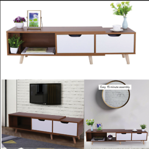 Details About Wood Tv Stand Table Telescopic Cabinet Storage Living Room Desk Drawer