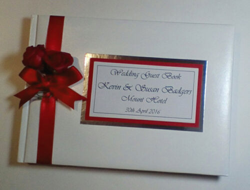 wedding album silver gift Personalised wedding guest book with roses