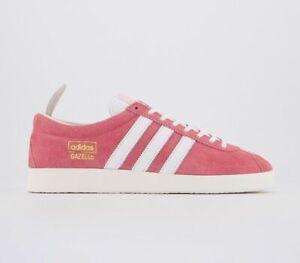 Adidas-Gazelle-Vintage-Baskets-Real-Rose-Blanc-Blanc-Baskets-Chaussures