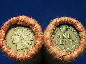 SHOTGUN-PENNY-ROLL-FULL-OF-INDIAN-HEAD-CENTS-OLD-COLLECTIBLE-COINS-1859-1909