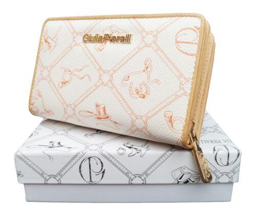 ★Damen Geldbörse Giulia Pieralli XL kurze Frauen Portemonnaie Börse Weiß Orange★