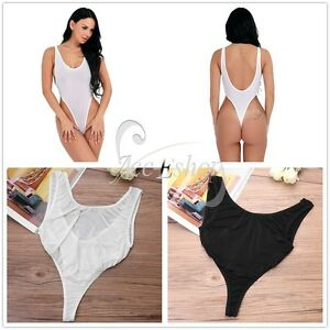 2b9fb20fa Image is loading Womens-See-through-Lingerie-Backless-One-Piece-Swimsuit-