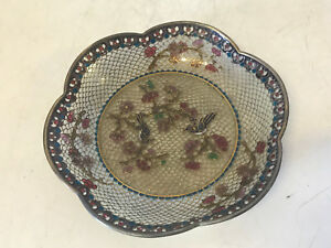 Chinese-or-Japanese-Plique-a-Jour-Cloisonne-Plate-w-Birds-amp-Floral-Decoration