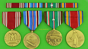 Army-WWII-European-Theater-full-size-Medals-amp-Ribbons-earned-5-campaign-stars