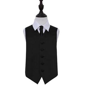 DQT-Satin-Plain-Solid-Black-Boys-Wedding-Waistcoat-amp-Cravat-Set