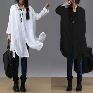 ZANZEA-Women-Long-Sleeve-Buttons-Down-Shirt-Dress-Split-Blouse-Shirt-Tops-Plus