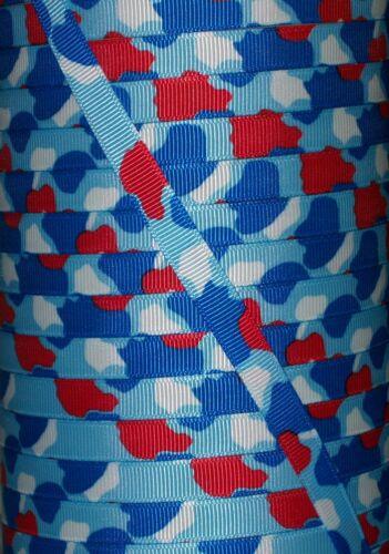 "5 yards 3//8/"" Patriotic Camo Camouflage Print Grosgrain"