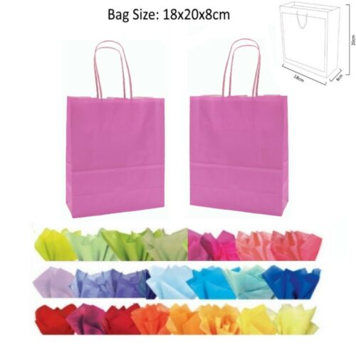 20x18x8cm Light Pink Paper Party Gift Bags Wedding Favour Gift Bag /& Tissue Wrap
