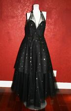 Vintage Jean Louis Scherrer Couture Tulle Evening Black Gown  SIZE F 42