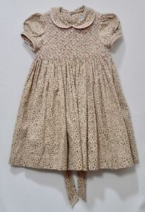 Luli-amp-Me-Lined-Floral-Print-Short-Sleeve-Smocked-Brown-Dress-2T