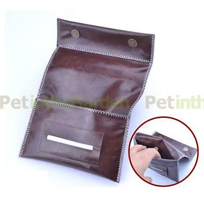 Genuine Leather Roll Up Tobacco Pouch with small Zip for Coins Paper etc Red